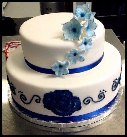 2 tier blue brushed wedding cake