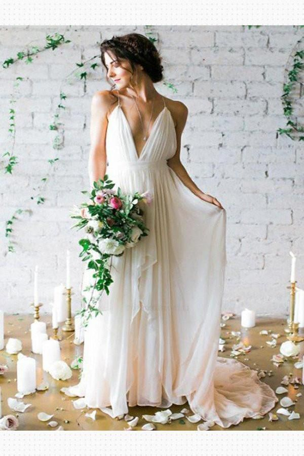 Cheap Comfortable Custom Made Wedding Dresses, Wedding Dresses Backless, Chiffon Wedding Dresses, Simple Wedding Dresses
