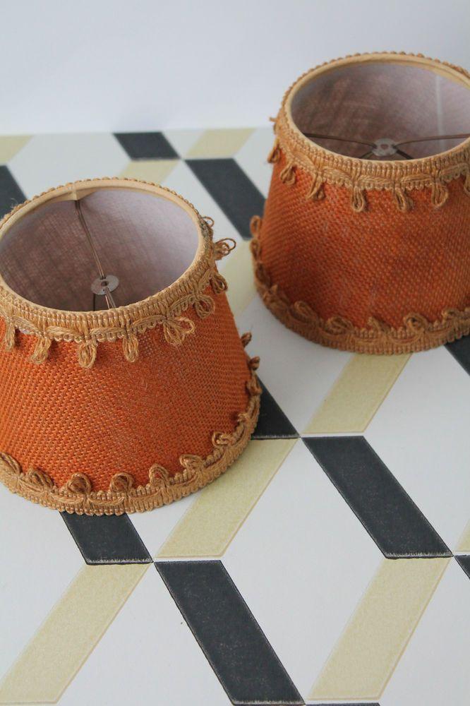 2 Petits abats jours Vintage Français lampe luminaire Orange French fixtures