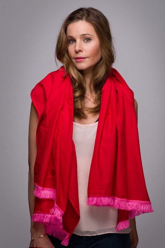 Red Lightweight Rectangle Scarf with Hot Pink by WICKandPoppy, $74.56 Etsy