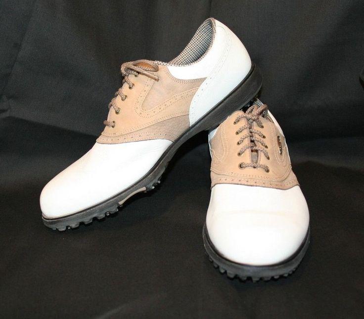 Women's Size 10 ~ FOOTJOY eComfort Golf Shoes White with Suede Tan Saddle 10M #Footjoy #golfing #TheSmartShoppe #ebaystore