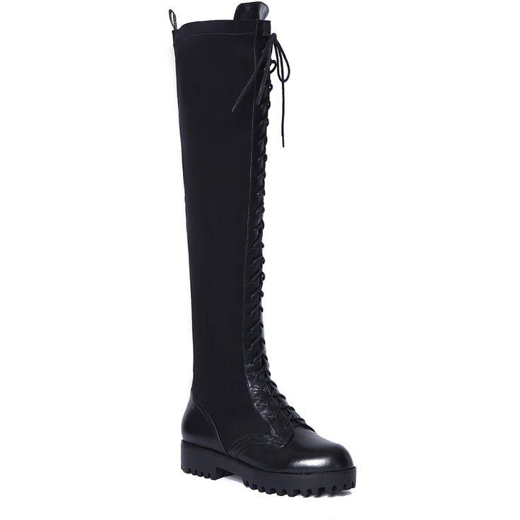 ASYSPLNX Натуральная телячья кожа и Лайкра Черный круглый носок моды бедро высокие сапоги для женщин Осень Западная элегантный femal обувь
