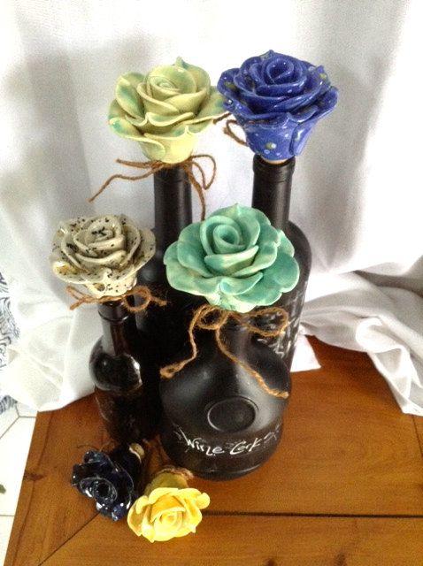 Custom Ceramic Rose Wine Stopper by 3GirlsandaKiln on Etsy Love the wine cork idea - use the up-cycled bottle for olive oil.