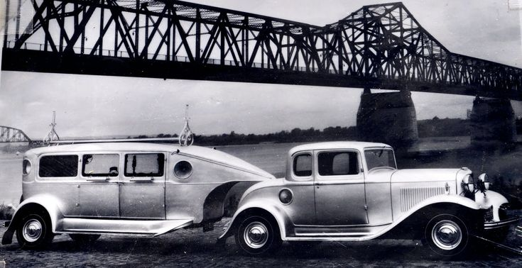 Fifth wheel trailers in the 30s... Are those early cell phone antennae on the roof?