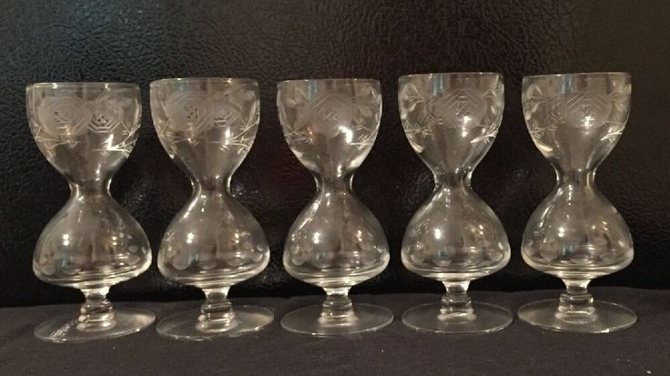 "RARE Lot 5 Hourglass DOUBLE Bubble Shot 4-3/8"" Stemware Etched Design Crystal  
