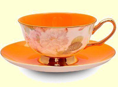 Orange Satin Shelley Bone China Tea Cup in Gift Box