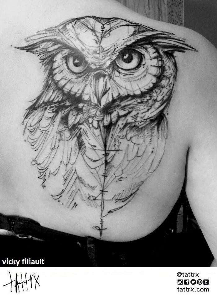 Vicky Filiault Tattoo #ink #tattoo #owl  #linework