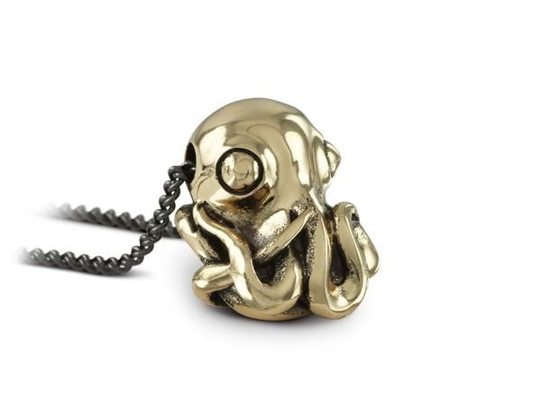 With its writhing mass of tentacles and wide, inquisitive eyes, the Octopus is not just a joy to look at but also...Octopus Necklace in Bronze by Lost Apostle