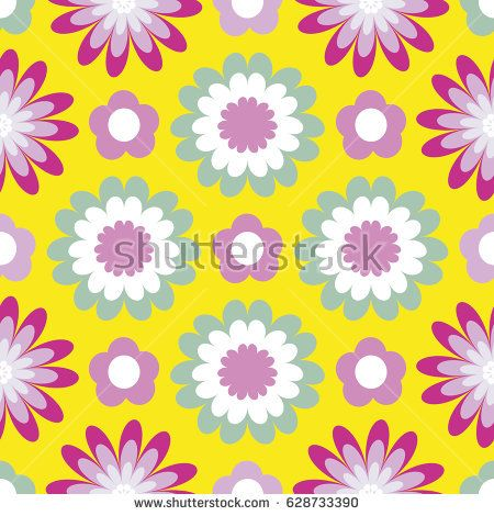 Bright floral pattern. Seamless vector background with fabulous flowers for printing on fabric, paper, gift wrapper, household goods, interior. Beautiful flower buds on a yellow background