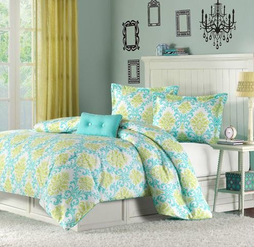 6t Teal Amp Green Damask Motif Comforter Bedding Set Size