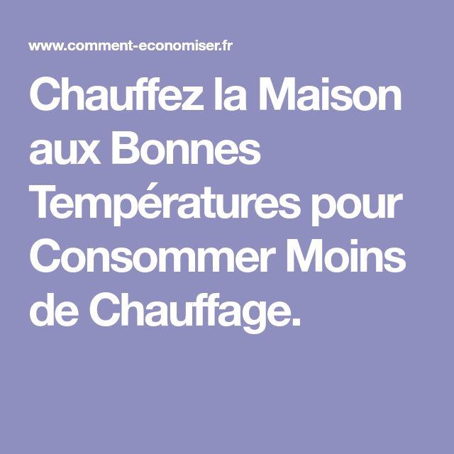 Chauffez la Maison aux Bonnes Températures pour Consommer Moins de Chauffage.