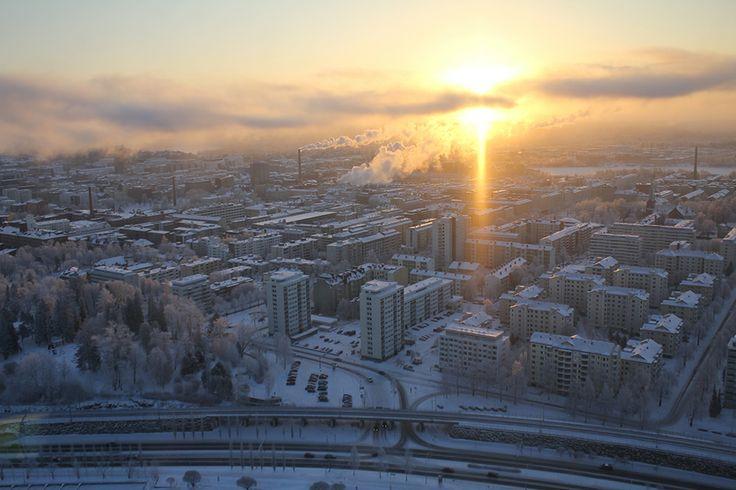 Winter view over the city of Tampere from Näsinneula observation tower in Särkänniemi Adventure Park.