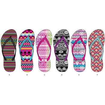 Ladies Tribal Basic Flip Flops. Bulk wholesale flip flops for children at dollardays.com. Less than $2 a pair!