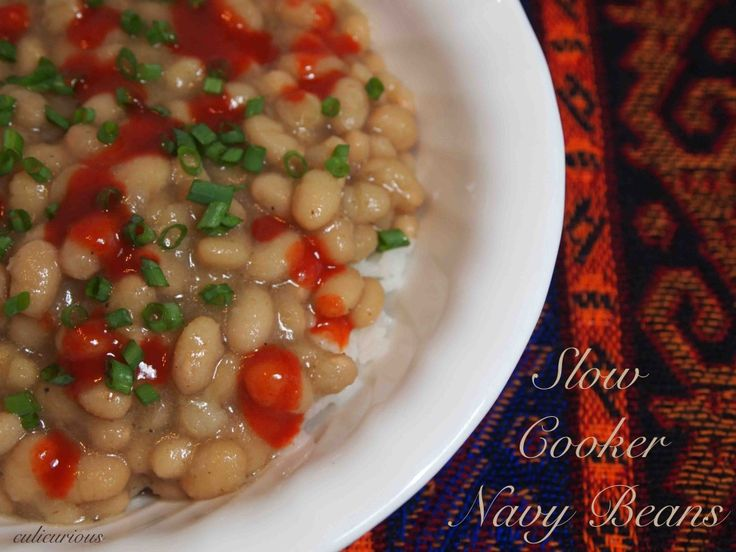Slow Cooker Navy Beans Recipe 19g fiber/cup of navy beans! Plus, it looks delish!