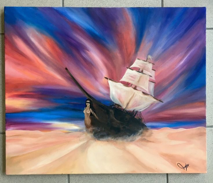 Ship in the desert oil on canvas - ghost ship - desert painting -sea - di VariArtIry su Etsy