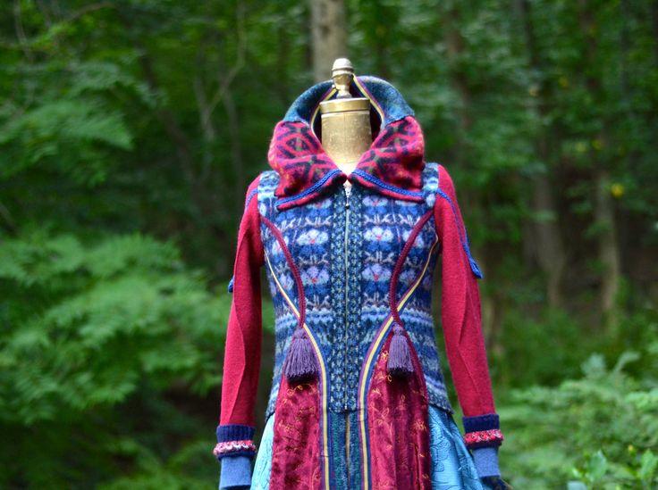 Lappendeken boho trui JAS fantasy art refashioned om kleding