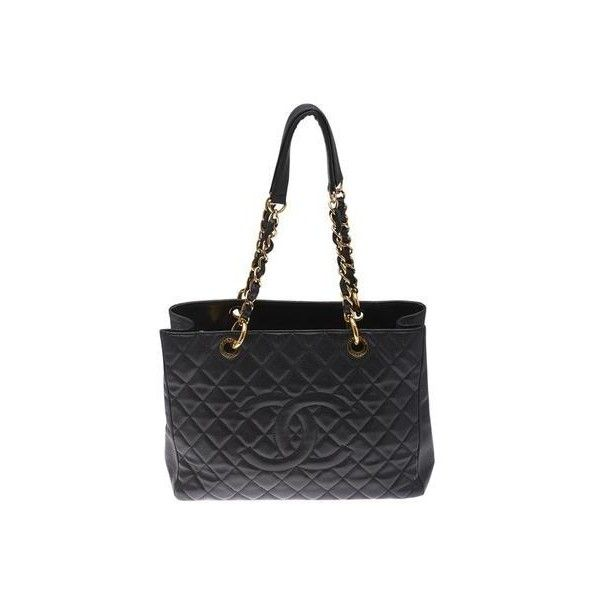 Pre-owned Chanel Grand Shopper Black Caviar Quilted Leather Tote ($2,160) ❤ liked on Polyvore featuring bags, handbags, tote bags, tote purses, quilted leather handbags, chanel shopper, shopping tote and quilted totes