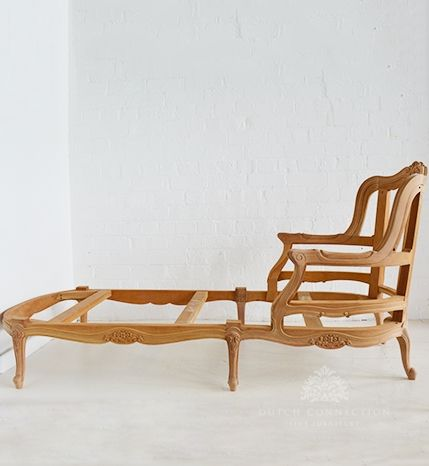 Carved French Chaise Day Bed with Cab Leg / French Day Bed / Dutch Connection