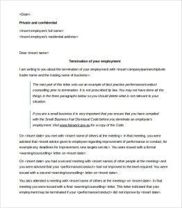 Employment Termination Letter Template Prepossessing Employee Termination Letter Employee Termination Agreement .