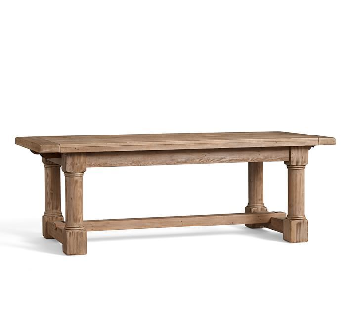 Charles Reclaimed Wood Extending Dining Table - Smoked Pine finish