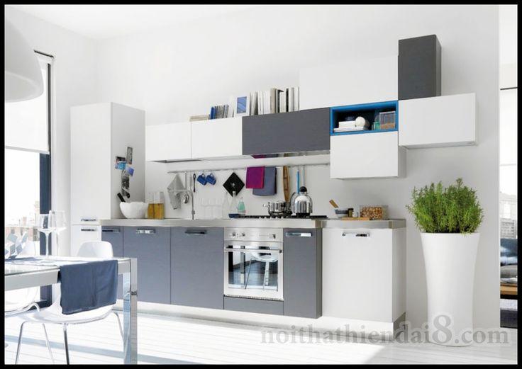 Mẫu phòng bếp đẹp hiện đại với gam màu trắng và xám 22