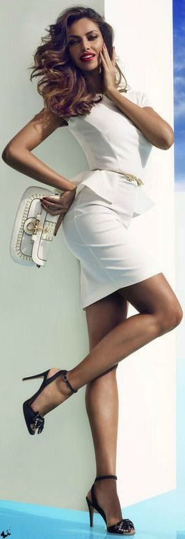 Women's fashion | Amazing white peplum outfit, strapped heels, clutch.
