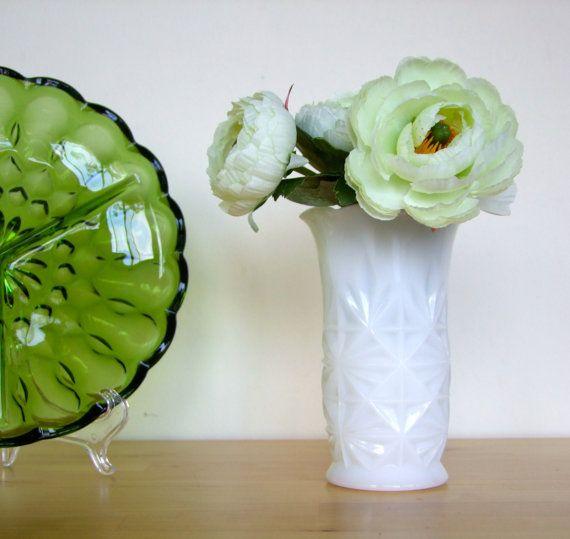 Retro Milk Glass Vase - Anchor Hocking, Geometric Design