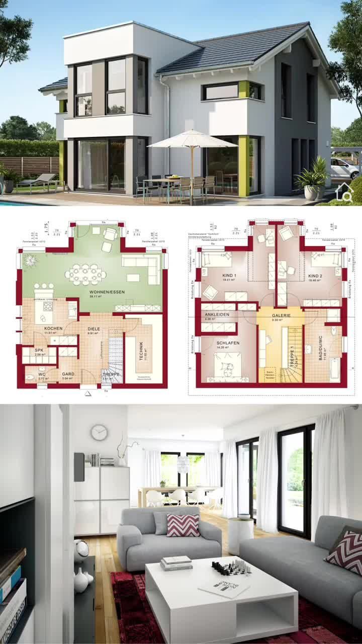 Moderne Hausplane Mit 2 Stockwerken Galerie Zeitgenossische Europaische Architektur Innenarchitektur Ideen Architektu In 2020 Haus Design Haus Grundriss Haus Plane