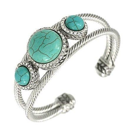 3 Stone Turquoise Cuff Bangle
