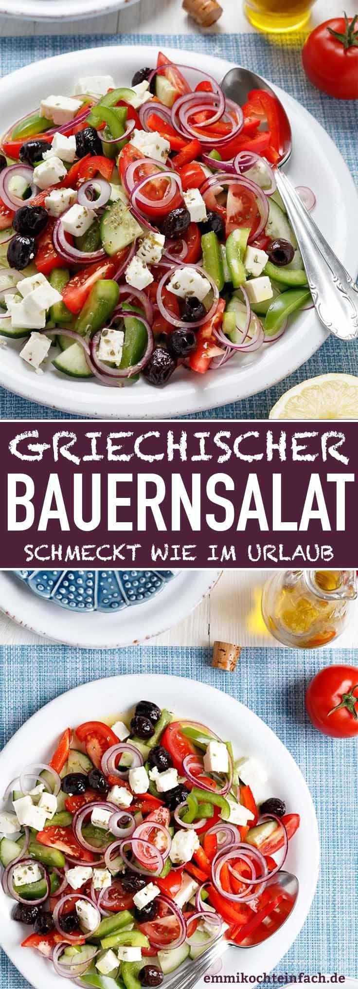 Griechischer Bauernsalat - so schnell und einfach - emmikocheinfach - Der Food-Blog mit einfachen Rezepten, die gelingen - #Bauernsalat #Die #Die # ...