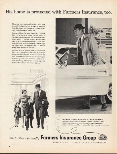 """1962 FARMERS INSURANCE GROUP vintage magazine advertisement """"His home is protected"""" ~ His home is protected with Farmers Insurance, too. - More and more thousands of men who have enjoyed the benefits and savings of Farmers Auto Insurance are turning ..."""