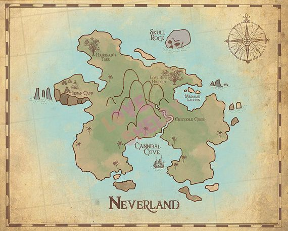 Peter Pan Nursery Neverland Map Map of by PrintsAndPrintables