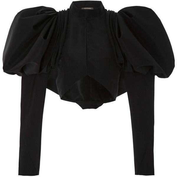 Poof Sleeve Jacket | Moda Operandi ($2,880) ❤ liked on Polyvore featuring outerwear, jackets, sleeve jacket, long sleeve crop jacket, cropped jacket, mandarin collar jacket and long sleeve jacket
