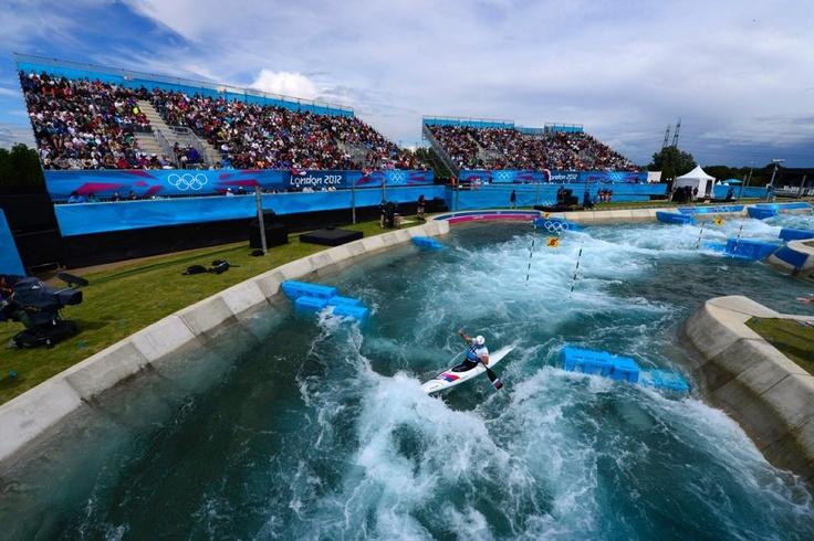 Aleksander Lipatov of Russia competes in the men's kayak slalom preliminaries. (Newsweek)