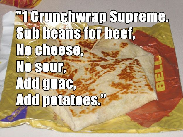 You know this Taco Bell order by heart. | 19 Signs Youve Been Vegan TooLong... So true it's funny!