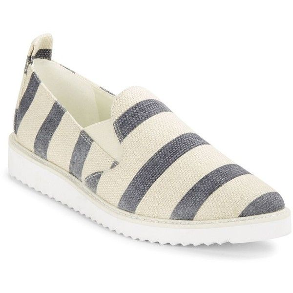 Karl Lagerfeld Paris Women's Clement Slip-On Sneakers ($79) ❤ liked on Polyvore featuring shoes, sneakers, blue white, striped shoes, karl lagerfeld, slip on trainers, slip-on shoes and pointed toe slip on sneakers