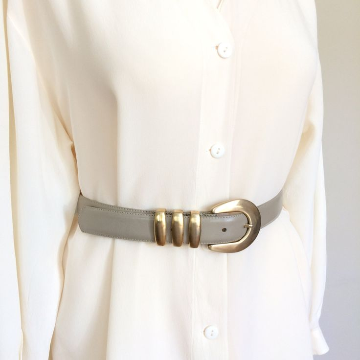 Leather Belt| Taupe Brushed Gold Tone Buckle Dress Belt | 80s Liz Claiborne by TheFuchsiaMoon on Etsy