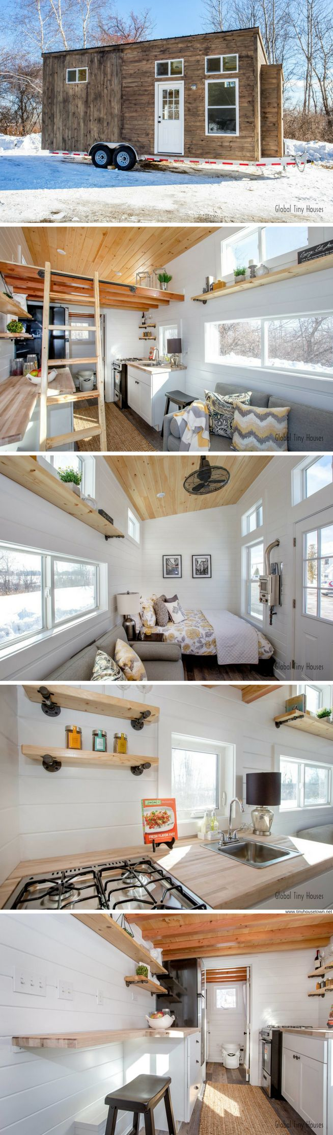A bright modern/rustic tiny house available from Global Tiny Houses
