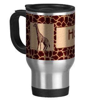 Personalized Giraffe Print Travel Mug