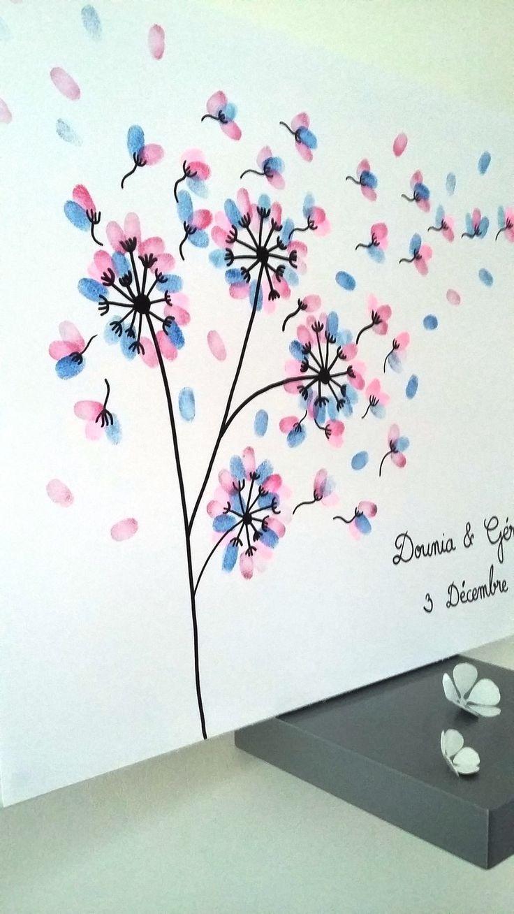 """arbre à empreintes """" la magie des pissenlits """" pour 120 - 150 personnes : Décorations murales par stefebricole"""