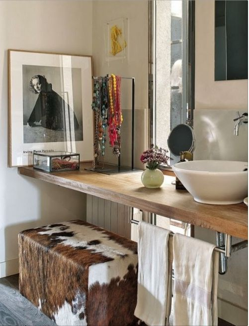 eclectic bathroom, old and new, wooden countertop, large window, art