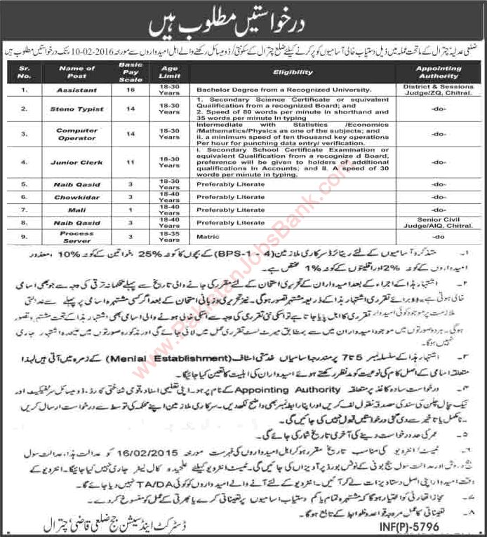 District and Session Court Chitral Jobs 2016 KPK Clerks, Computer Operators, Assistants & Others Latest - Jobs in Pakistan, Karachi, Lahore, Rawalpindi, Islamabad, Peshawar; published in Jang, Express