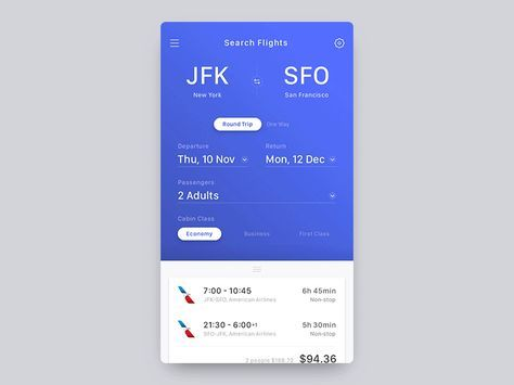 Flight Booking App - Concept by John J. Brown