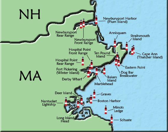 Upper Massachusetts Lighthouse Map