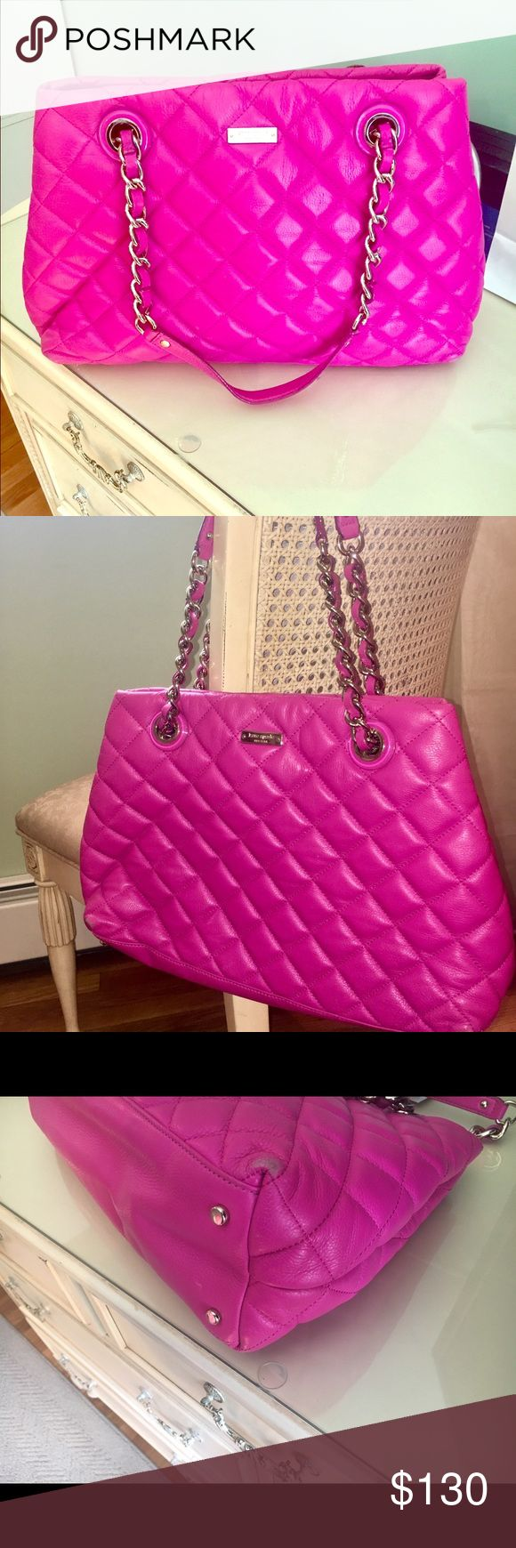 Kate Spade pink leather quilted bag Pink Kate Spade leather quilted bag with chain handles. Light use, very good condition except for coffee stain on inner fabric, however, I never tried to remove this stain and you may be able to wash it out fairly easily. Bag is great. Will fit laptop. kate spade Bags Totes