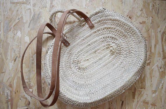 Maria Rita-Small Market Basket-Oval Basket-Handmade-Leather