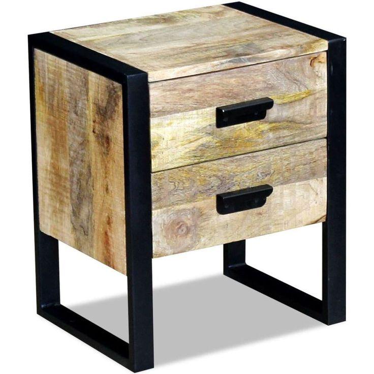 Home Bedside Cabinet Table Bedroom Nightstand Furniture Black Wood Drawer Solid #BlackwoodFurniture