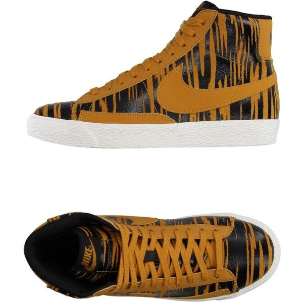 Nike High-tops & Sneakers ($82) ❤ liked on Polyvore featuring shoes, sneakers, yellow, yellow sneakers, animal print shoes, high top shoes, yellow high top sneakers and nike trainers