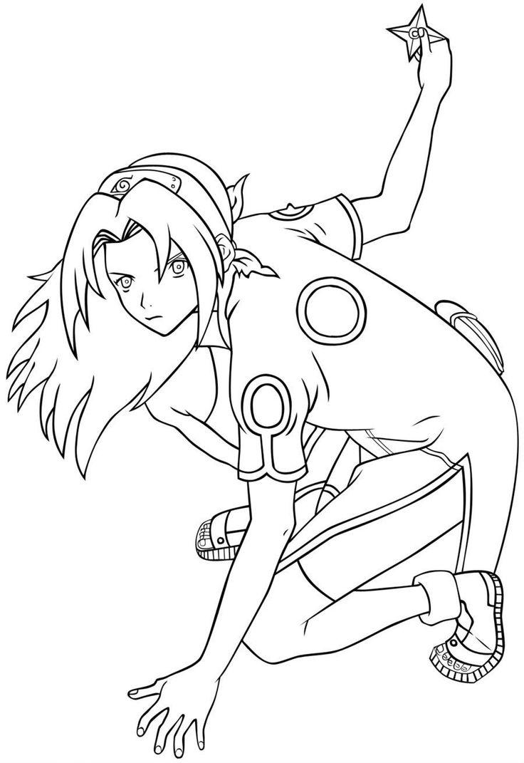 sakura ready to throw shuriken coloring pages for kids printable naruto coloring pages for kids