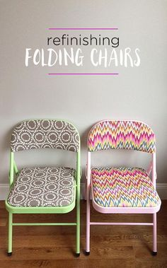 How to refinish folding chairs with fun fabric and colorful spray paint - DIY furniture makeover idea